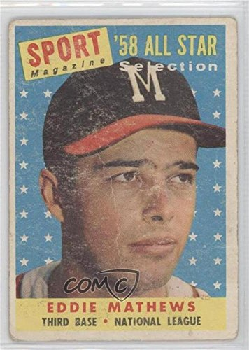 Eddie Mathews COMC REVIEWED Good to VG-EX (Baseball Card) 1958 Topps #480 - Mathews Baseball Card