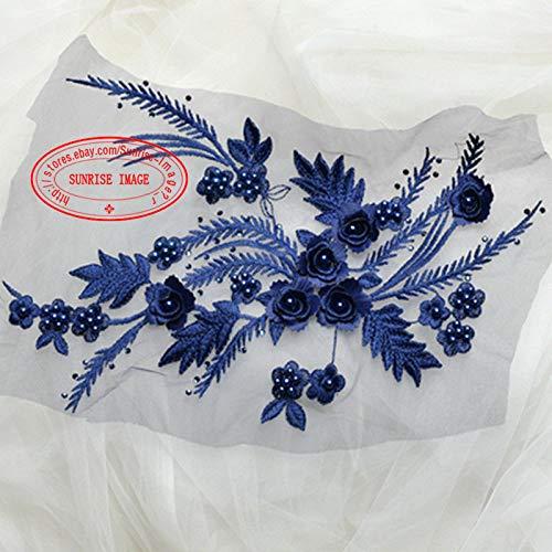 FidgetFidget 32 x 23 cm, 3D Flor Bordado Encaje Recortar Apliques de Costura Vestido decoración DIY FL125 Rojo + Dorado,...