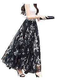 Afibi falda playera larga, de chifón, longitud entre el tobillo y completa, para dama.