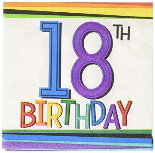 Amscan 5018362 Party Supplies Rainbow 18th Birthday Beverage Napkins, One Size, Multi -