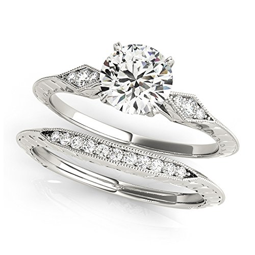 14K White Gold Unique Wedding Diamond Bridal Set Style MT50971