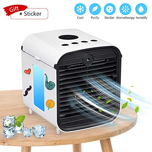 Portable Air Conditioner, USB air Cooler, Humidifier, Desktop Mini Cooling Fan, Personal Desktop Fan, Five-in-one,3 speeds,Quiet for Personal Spaces Such as Offices, Indoors, Outdoor