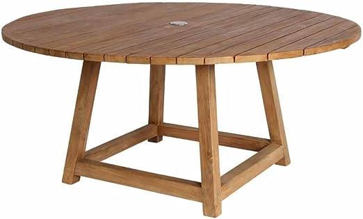 milanari Chambord - Mesa de jardín redonda (madera de teca ...
