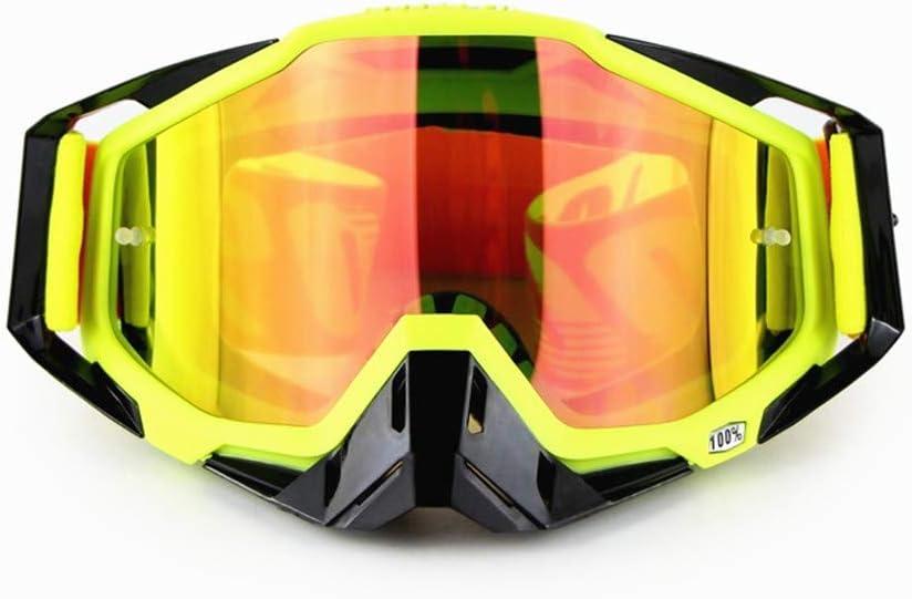 Gafas de Montar Fuera de la Carretera de la Motocicleta Gafas de protección UV Gafas de Bicicletas al Aire Libre de los vidrios a Prueba de Polvo y Viento (Color : Fluorescent Yellow Frame)