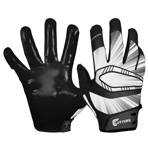 Cutters Mens Football Receiver Glove - Cutters Gloves REV Pro Receiver Glove (Pair), Black, Large