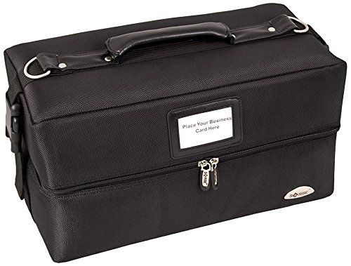 Craft Accents 2-Tiers Accordion Trays Soft-sided Professional Makeup Case, All Black, 112 Ounce