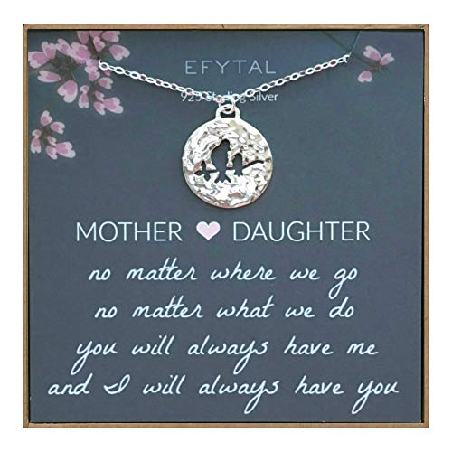 (EFYTAL Mom Gifts, 925 Sterling Silver Mommy & Baby Bird Necklace for Mother & Daughter, Necklaces for Women, Best Birthday Gift Ideas, Pendant Mother's Jewelry For Her, Mothers Day)