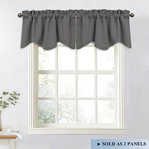 NICETOWN Bedroom Blackout Window Valances - Home Decoration 52-inch by 18-inch Scalloped Rod Pocket Curtains for Kitchen (Grey, 2 (Bedroom Valance)