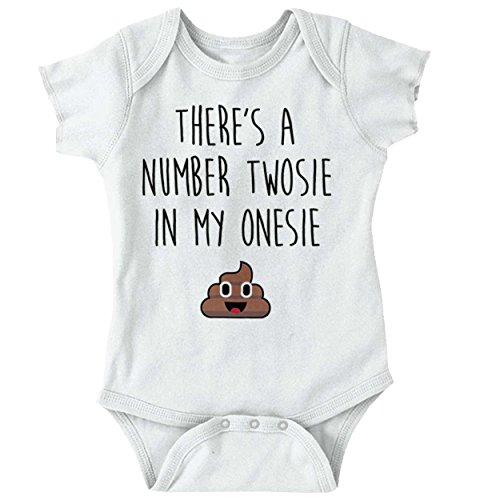 Brisco Brands Number Two Poop Funny Quote Cute Saying Newborn Infant Baby Onesie Bodysuit (Funny Sayings Onesies)