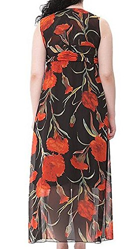 Orlando Johanson New V Neck Floral Plus Size Bohemia Summer Vacation Beach Dress for Obese Women Black28 Plus Comfortable