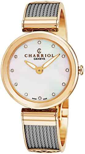 Charriol Forever Womens Watches Rose Gold Stainless Steel - 32mm Analog Mother of Pearl Face with Sapphire Crystal Ladies Dress Watch - Twisted Cable Bracelet Luxury Swiss Watch For Women FE32.102.005
