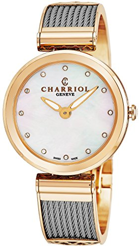 Charriol Forever Womens Watches Rose Gold Stainless Steel - 32mm Analog Mother of Pearl Face with Sapphire Crystal Ladies Dress Watch - Twisted Cable Bracelet Luxury Swiss Watch For Women ()