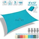 Patio Paradise 8' x 12' Solid Turquoise Green Sun Shade Sail Rectangle Square Canopy - Permeable UV Block Fabric Durable Patio Outdoor - Customized Available