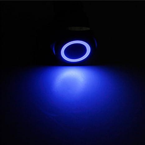 Mintice Schwarz Kfz 12mm Blaue Led Licht 2a Momentaner Druckknopf Wasserdicht Kippschalter Metall Schalter Auto
