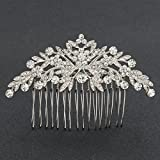 SEPBRDIALS Rhinestone Crystal Wedding Brides Leaves Hair Comb Pins Pieces Accessories Jewelry FA5088 (Silver)
