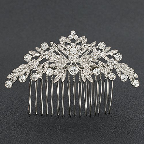 Large Rhinestone Crystal (SEPBRDIALS Rhinestone Crystal Wedding Brides Leaves Hair Comb Pins Pieces Accessories Jewelry FA5088 (Silver))