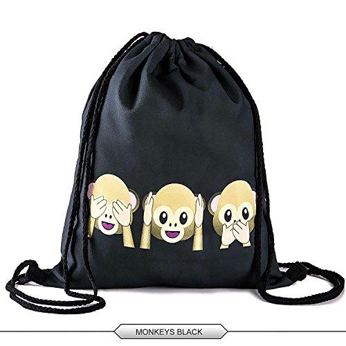 HELLATHUND 3D Emoji Characters Series Light Drawstring Bags Friday Printed Unisex Backpacks for Kids(12
