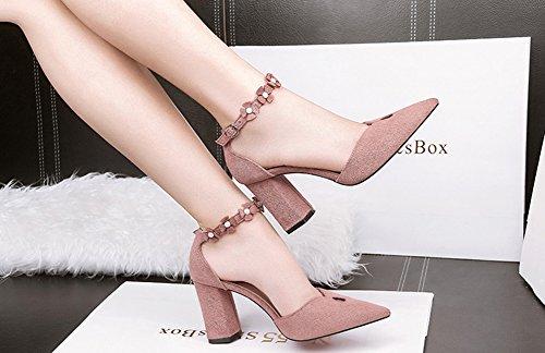 Aisun Damen Cut Out Spitz Zehen Perlen Blumen Knöchelriemchen Blockabsatz Sandale Mit Schnalle Pink