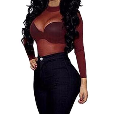 5f04a472dba Minzhi Women Sexy Clubwear Contrast Colorblock See Through Sheer Mesh Long  T-Shirts Tops  Amazon.co.uk  Clothing