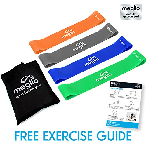Meglio Latex Free Resistance Bands Loops - Set of 4 Premium Fitness Exercise Bands for Fitness Workouts Rehabilitation Yoga Pilates and Strength Training (Green - Blue - Black - Orange)