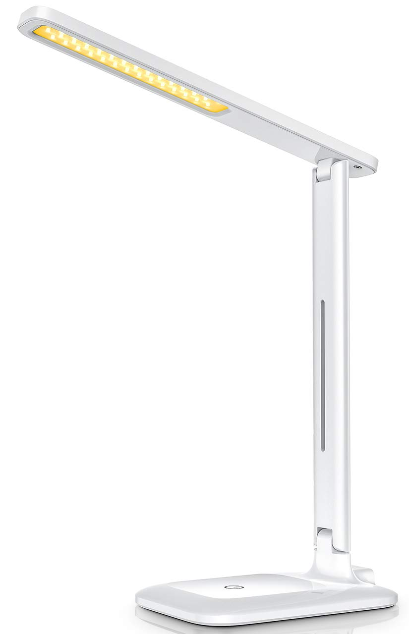 LED Desk Lamp, LITOM 2019 Upgraded Office Desk Lamp with 9 Light Mode, Touch Control, Memory Function, Eye-Caring, Foldable Dimmable, Table Lamp for Reading, Studying, Working, White by LITOM