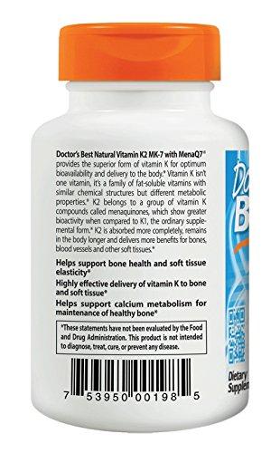 Doctor's Best Natural Vitamin K2 MenaQ7 Vegetable Capsules