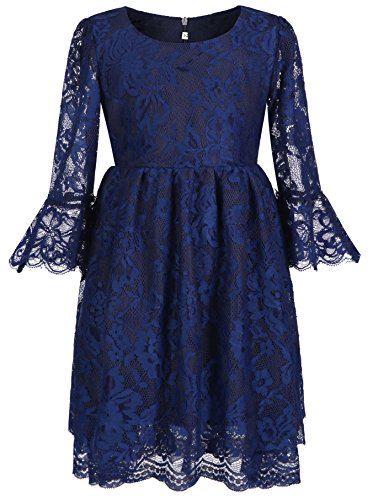 PLwedding Vintage Flower Girls Lace Dresses with Sleeves Kids Party Gowns (Size 6, Navy Blue) ()