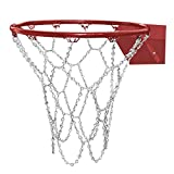 TRIXES Silver Heavy Duty Metal Pro Basketball Net Highly Durable Chain Replacement with S Hooks Standard Loop Siz