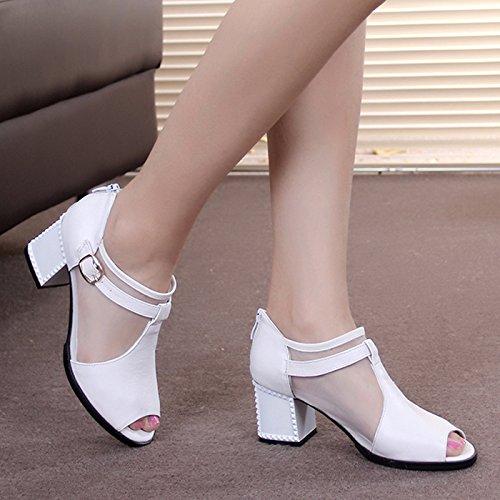 t Femmes Poisson Bouche En paisses Et Blancs Perces Femme Sandales Kphy De Gaze Medium Chaussures Cuir ECqxnZHw4