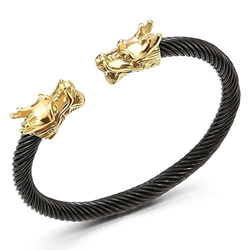 Adjustable Mens Gold Black Dragon Bracelet, Steel Twisted Cable Bangle Cuff Bracelet, Polished