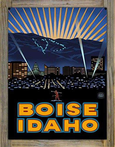Boise Idaho Skyline Metal Print on Reclaimed Barn Wood by Paul A. Lanquist (18