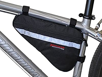 Bushwhacker Gallup Black - Medium Triangle Bicycle Frame Bag w/ Reflective Trim Cycling Pack Bike Under Seat Top Tube Bag Front Rear Accessories Crossbar