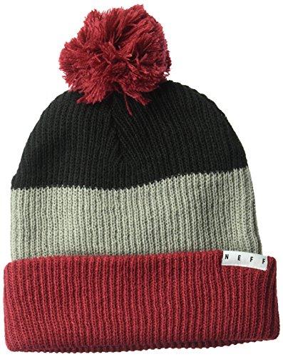 Maroon Reversible Beanie Knit (NEFF Unisex-Adults Snappy Beanie, Black/Grey/Maroon, One Size)