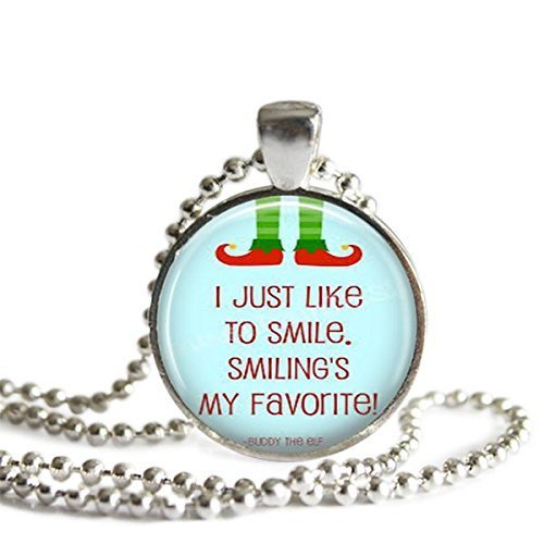 Buddy the Elf Quote Necklace 1 inch Silver Plated Pendant I Just Like To Smile Smiling's My Favorite