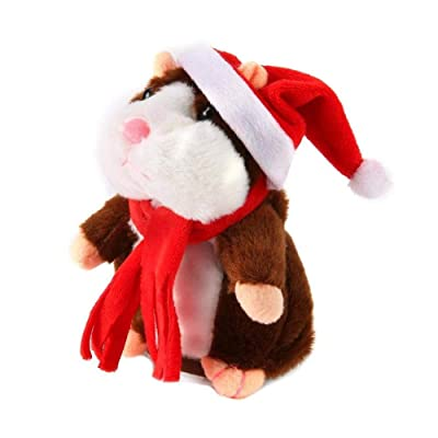 Gaonana Talking Hamster Repeats What You Say Electronic Pet Cheeky Hamster Talking Plush Toy Christmas Toy Speak Sound Record Hamster Gift (D, 6.3''): Toys & Games