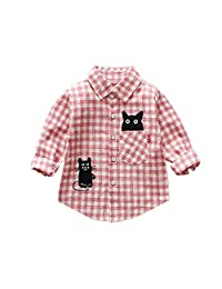 ALLAIBB Baby Unisex Shirts Black Kitten Pink Blue Plaids Long Sleeve Cotton