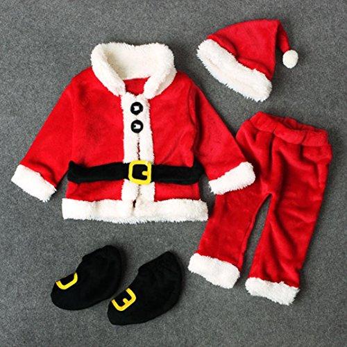 new style 7f959 42585 4 PCS Bebé Santa Christmas Tops, Pantalones y Sombrero Traje de Conjunto de  Traje de