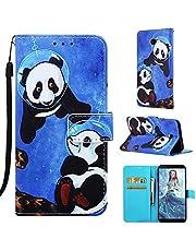 DYGG Compatible Funda Samsung Galaxy J4+/ J4 Plus, Carcasa Libro de Cuero con Tapas y Cartera, Cover Tarjetas y Billetera, Cierre Magnético - Panda Espacial