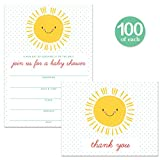 Sunshine Baby Shower Invitations & Matching Thank You Cards ( 100 of Each ) Set with Envelopes, Sunny Smile Large Party Boy Girl Mommy-To-Be Fill-In Invites & Folded Thank You Notes Best Value Pair