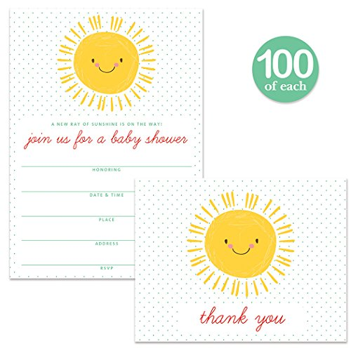 Sunshine Baby Shower Invitations & Matching Thank You Cards ( 100 of Each ) Set with Envelopes, Sunny Smile Large Party Boy Girl Mommy-To-Be Fill-In Invites & Folded Thank You Notes Best Value Pair by Digibuddha