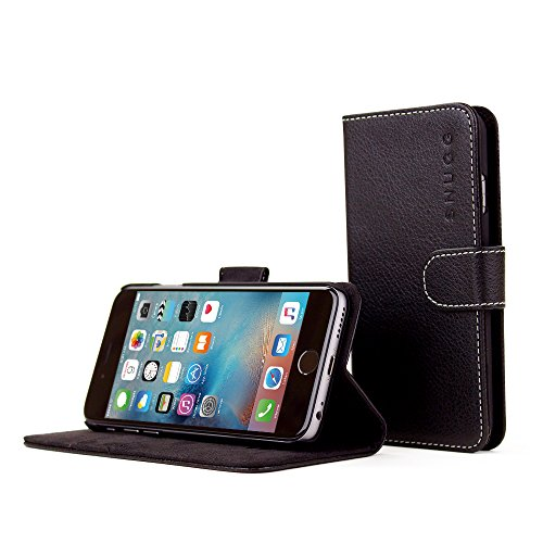iPhone 6 and 6S Case, Snugg Black Leather Flip Case [Card Slots] Executive Apple iPhone 6 and 6S Wallet Case Cover and Stand - Legacy Series
