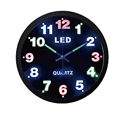 Justup LED Wall Clock, 12-inch Metal Round Silent Wall Clock Battery Operated Luminous Hands Non-ticking Quartz HD Glass Kitchen Bedroom Indoor (Black)