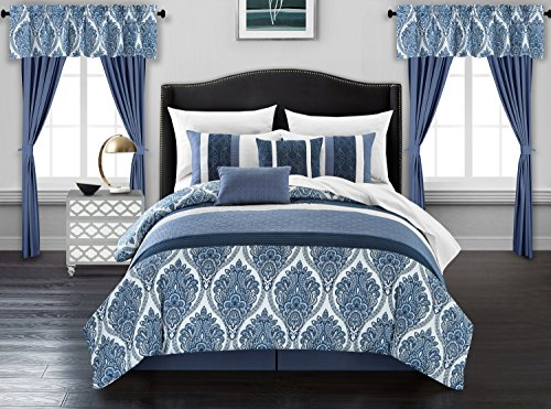 Chic Home Finnick 20 Piece Comforter Set Medallion Quilted Embroidered Design Complete Bed in a Bag Bedding – Sheets Decorative Pillows Shams Window Treatments Curtains Included, King Blue