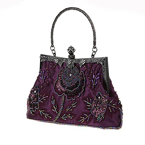 Pattern Purse Clutch Evening Handbag Women Rose Vintage Beaded Sequinned Purple Bag 0xq5nIYw