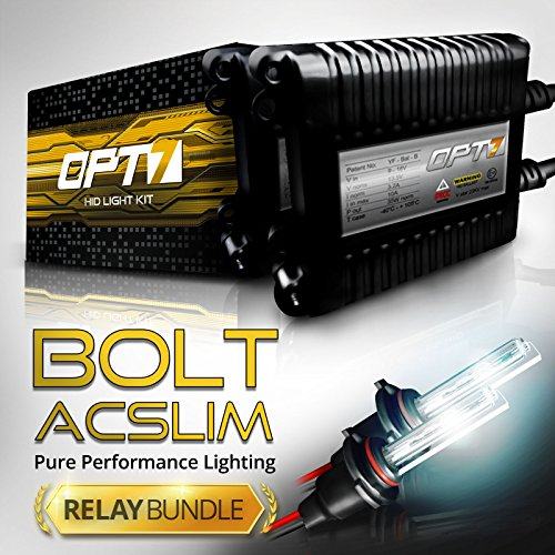 OPT7 Bolt AC 35w Slim H11 (H8, H9) HID Kit - Relay Bundle - All Bulb Sizes and Colors - 2 Yr Warranty [5000K Bright White Xenon Light] by OPT7