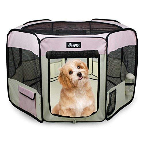 "JESPET 61"" Pet Dog Playpens, Portable Soft Dog Exercise Pen Kennel with Carry Bag for Puppy Cats Kittens Rabbits,Pink"