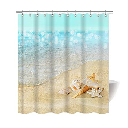 Amazon Gwein Beautiful Beach Pearl Seashell Shower Curtain
