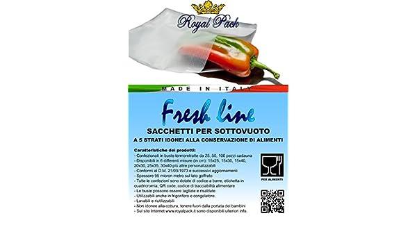 ROYAL PACK fundas y bolsas para envasado al vacío un motivo regular grabado para alimentos FRESH LINE x 15 cm 40 PACK de 25 unidades: Amazon.es: Hogar