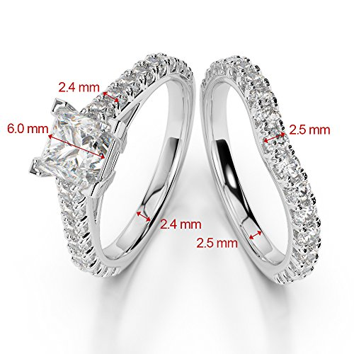Or blanc 18carats 1CT G-H/VS sertie de diamants taille princesse Saphir et mariée Bague de fiançailles et ensemble de Agdr-2007