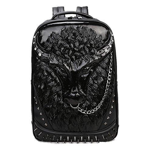 Bolsa de hombro doble 3D Toro Head iPad mochila Negro